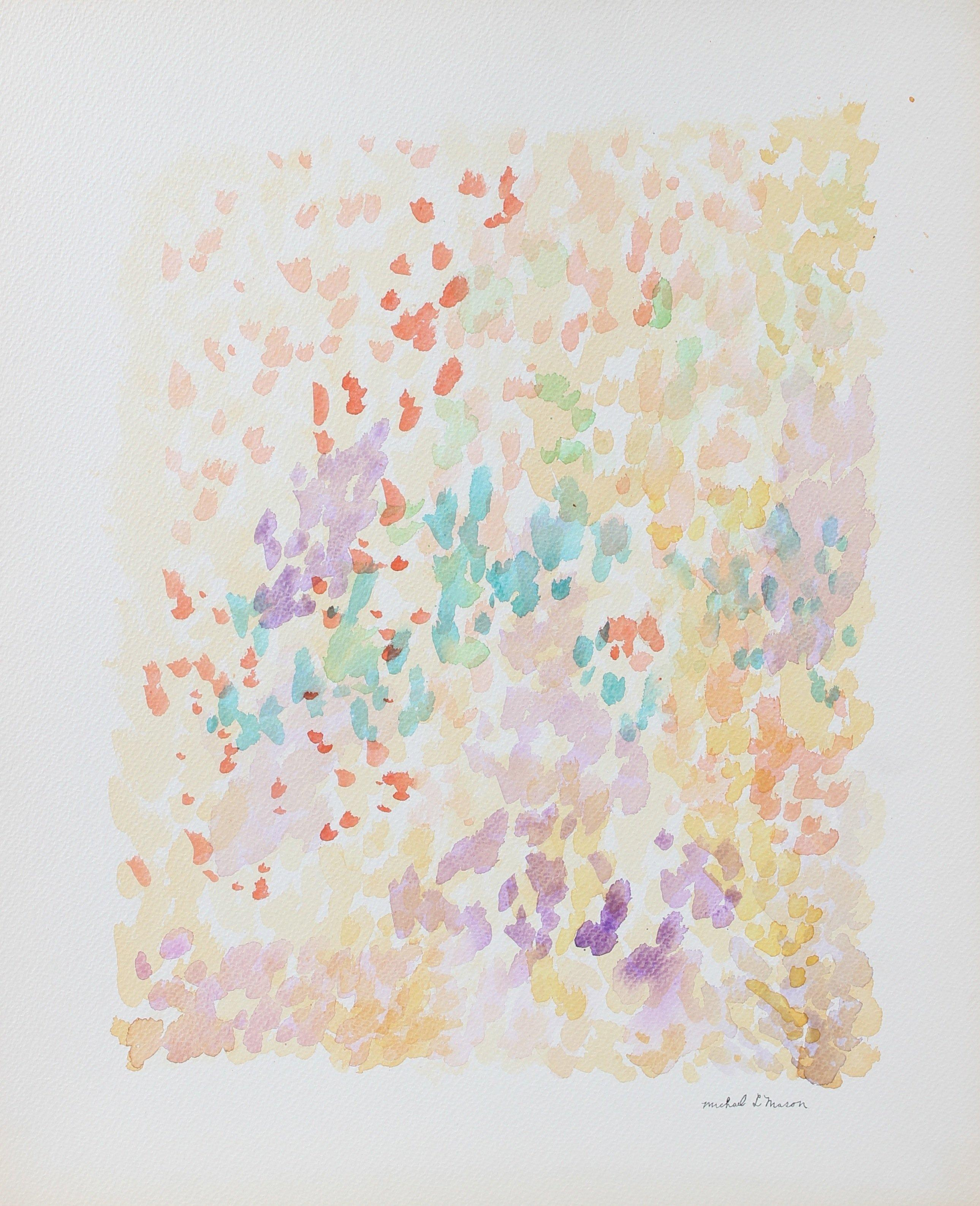 Pastel Pointillism Deconstruction Abstract 1963 Watercolor
