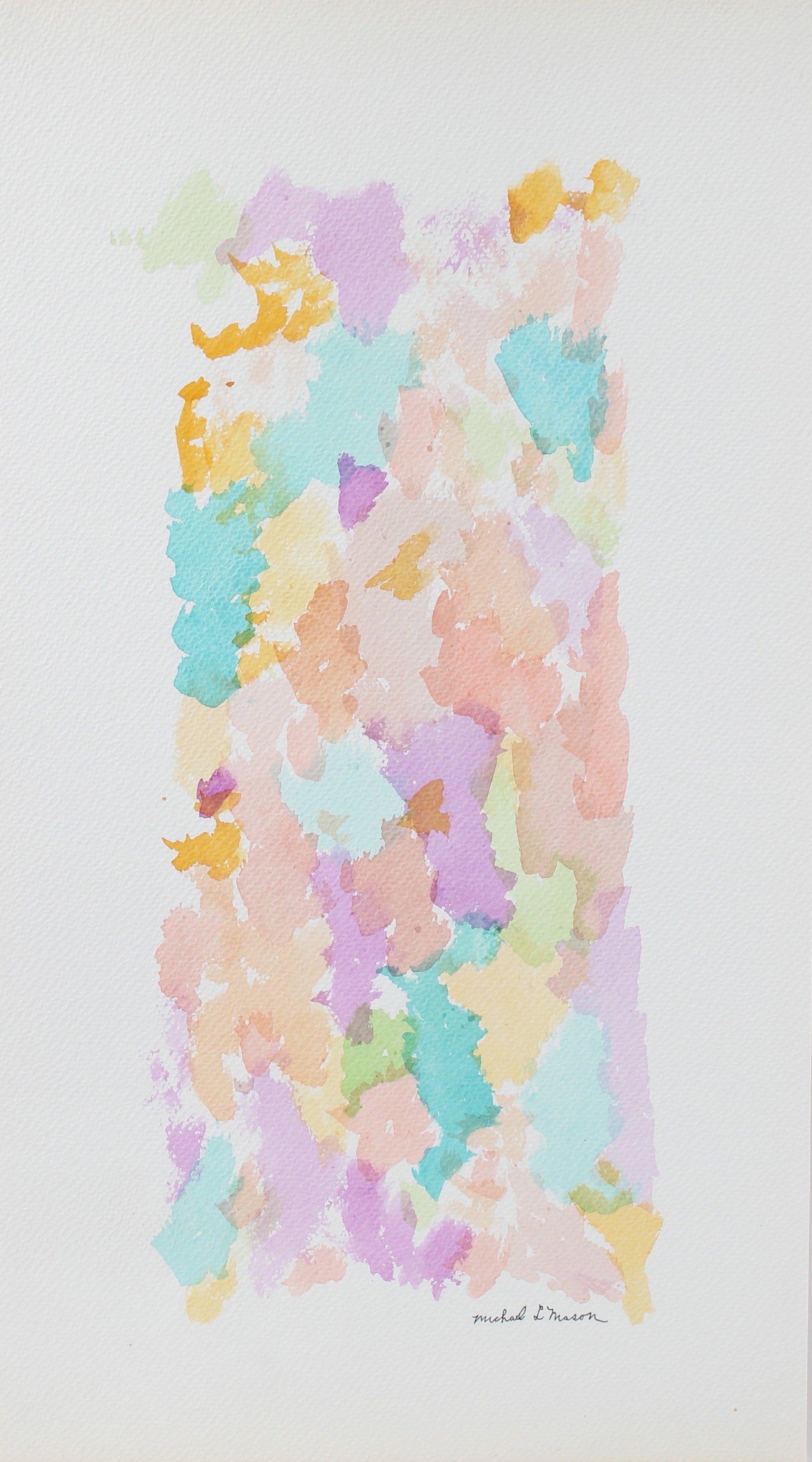 Vertical Pastel Color Field Pattern 1963 Watercolor