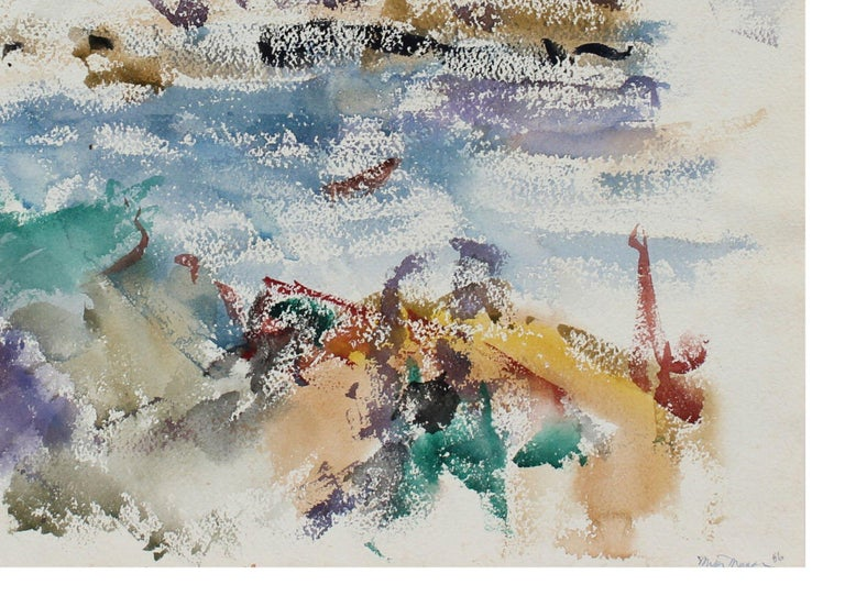 Rocky Coastal Abstracted Seascape in Blue 1956 Watercolor  - Art by Michael L. Mason