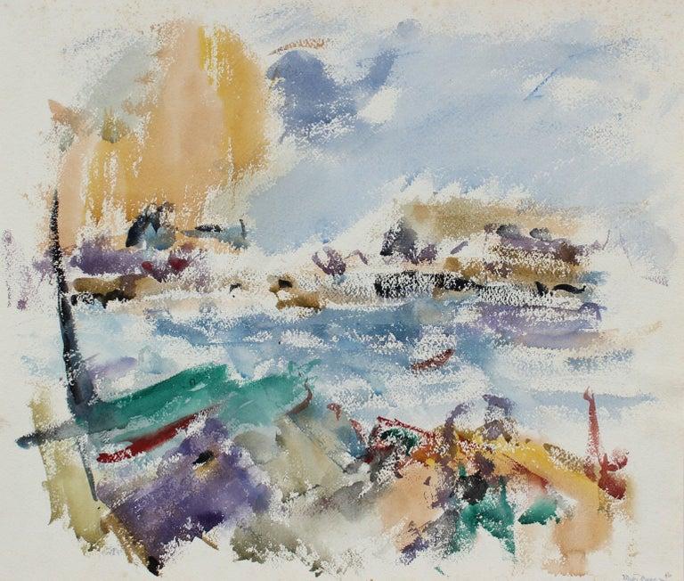 Michael L. Mason Landscape Art - Rocky Coastal Abstracted Seascape in Blue 1956 Watercolor