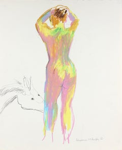 Colorful Standing Nude with Dragon 1950-60s Charcoal & Pastel