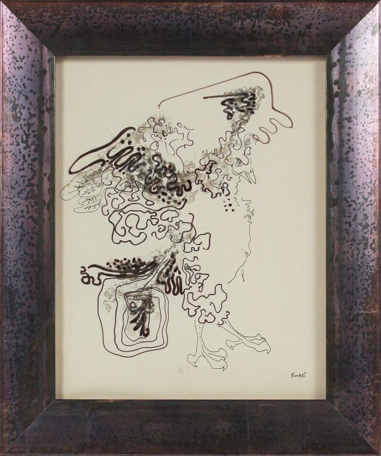 Morris Kronfeld Abstract Drawing - Surreal Abstracted Bird 1960-80s Ink Drawing
