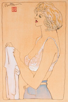 Casual Female Figure 1993 Gouache & Charcoal Drawing