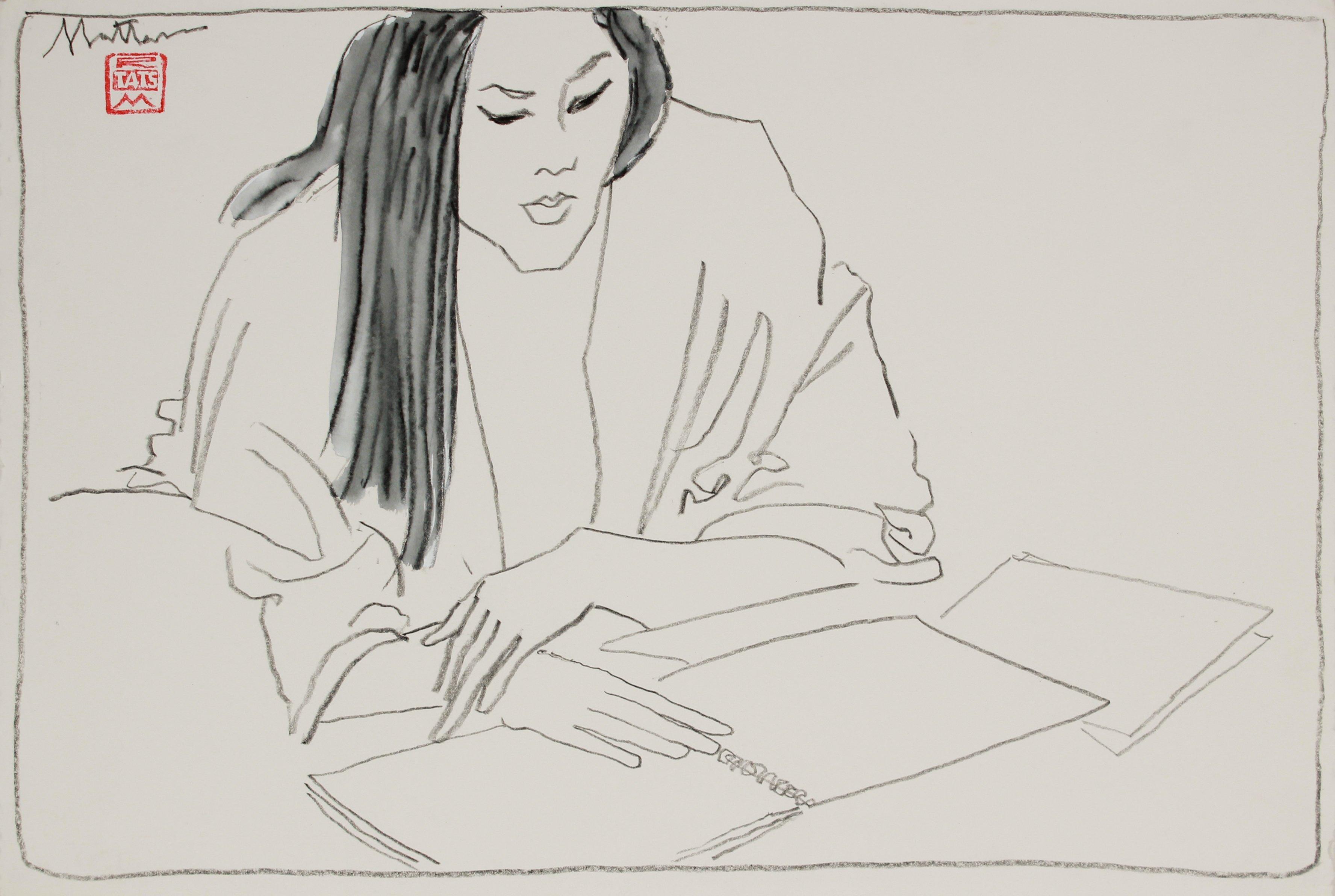 Female Figure Reading 20th Century Charcoal & Gouache