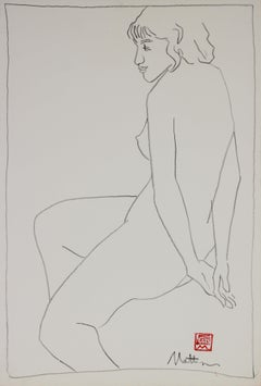 Minimal Seated Nude Drawing 20th Century Charcoal