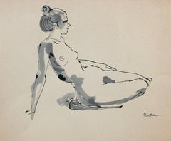 Reclining Nude Female Figure Study 20th Century Ink Drawing