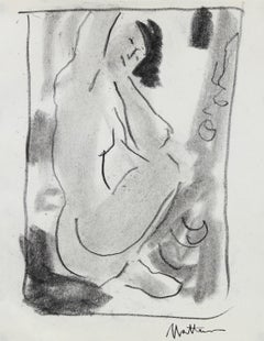 Seated Nude Study 20th Century Charcoal Drawing