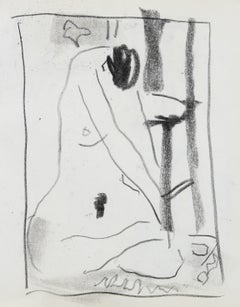 Abstracted Nude Figure Study 20th Century Charcoal Drawing