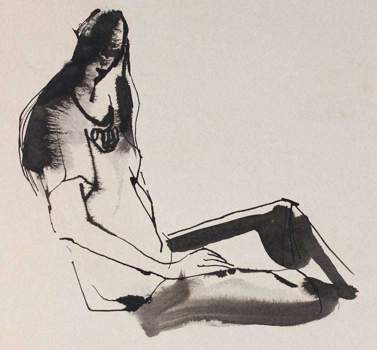 Abstracted Seated Figure Drawing 20th Century Ink and Ink Wash - Art by Rip Matteson