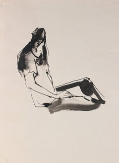 Abstracted Seated Figure Drawing 20th Century Ink and Ink Wash