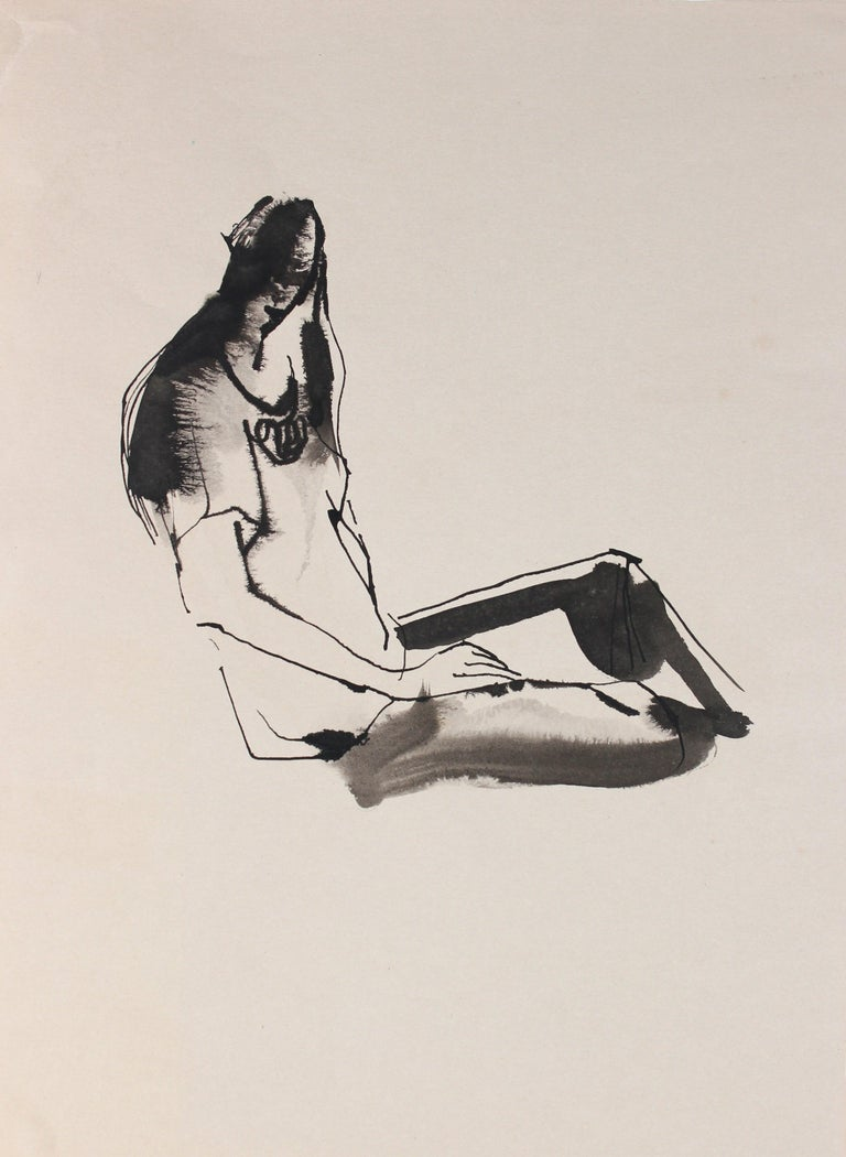 Rip Matteson Still-Life - Abstracted Seated Figure Drawing 20th Century Ink and Ink Wash