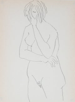 Standing Nude Figure Drawing 1989 Graphite