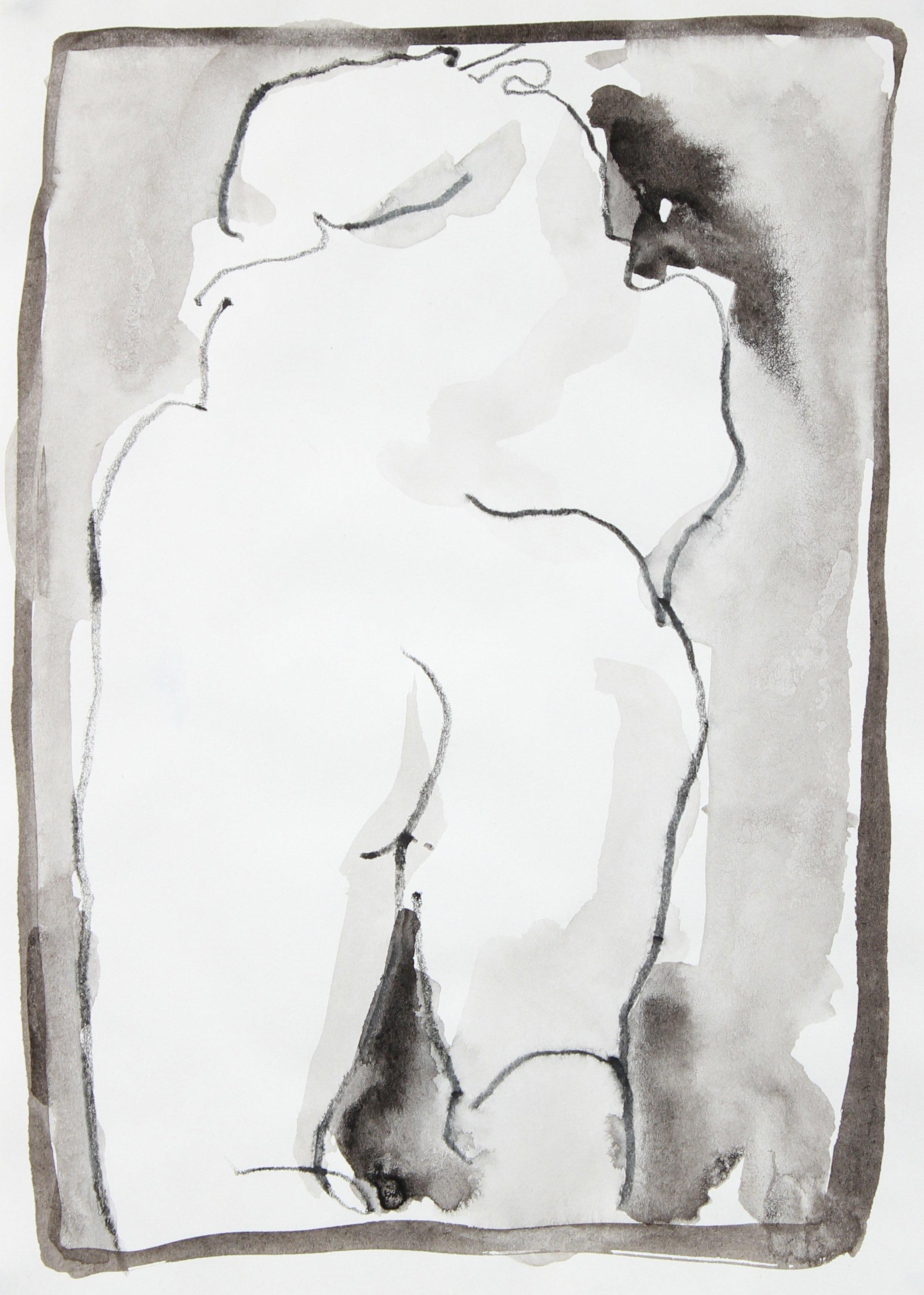 Abstracted Nude Figure Study 1995 Ink Wash and Colored Pencil