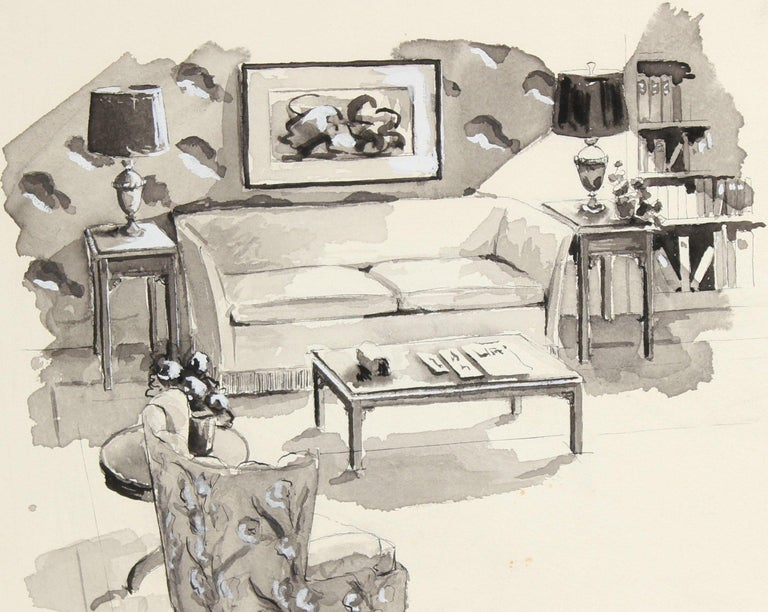 Living Room Interior Mid Century Ink Drawing - Art by Jane Mitchell
