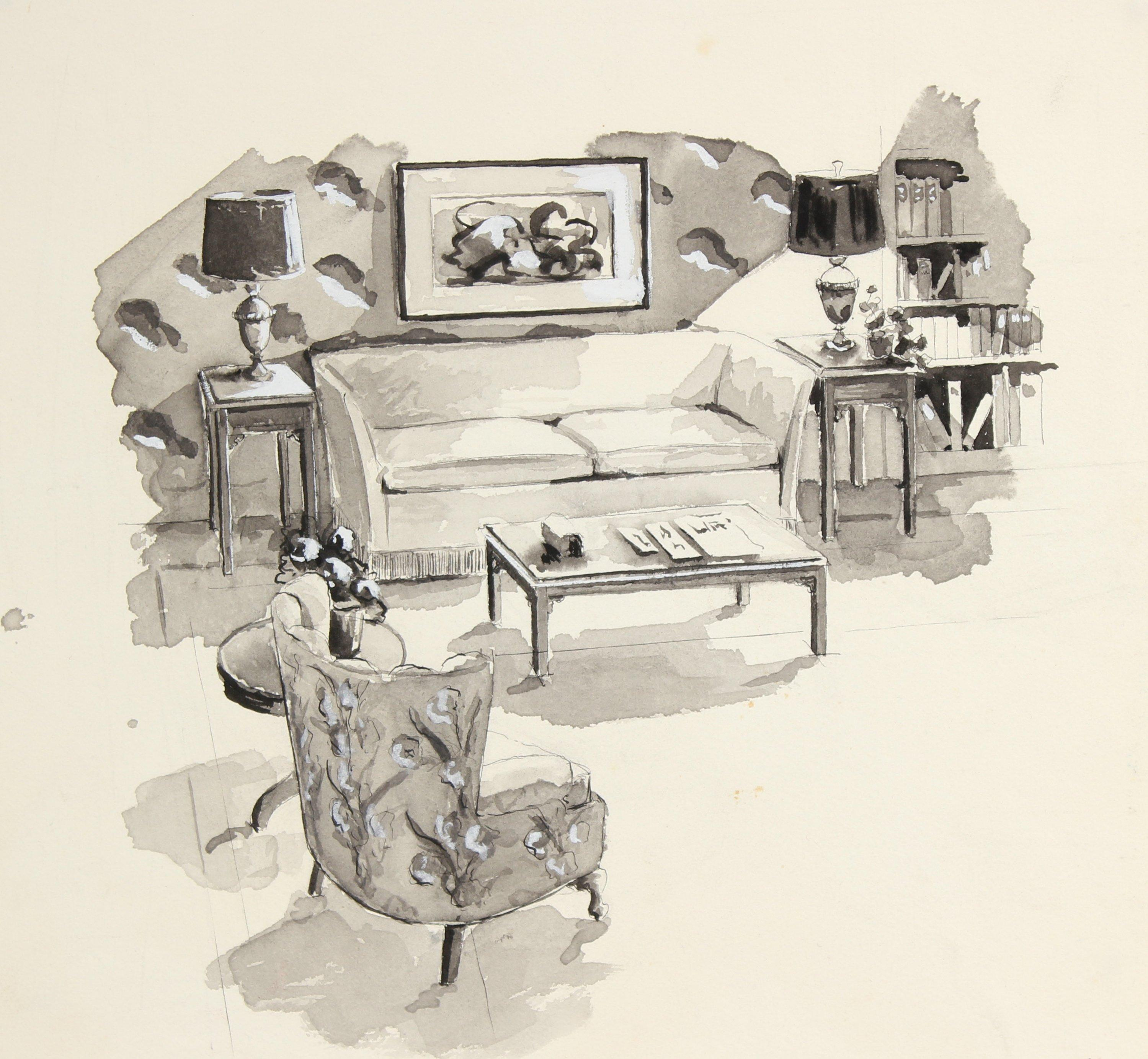 Living Room Interior Mid Century Ink Drawing
