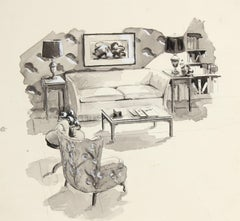 Living Room Interior Mid Century Ink Drawing