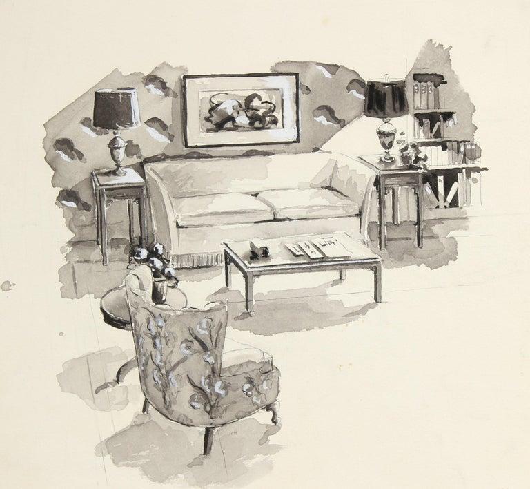 Jane Mitchell Interior Art - Living Room Interior Mid Century Ink Drawing