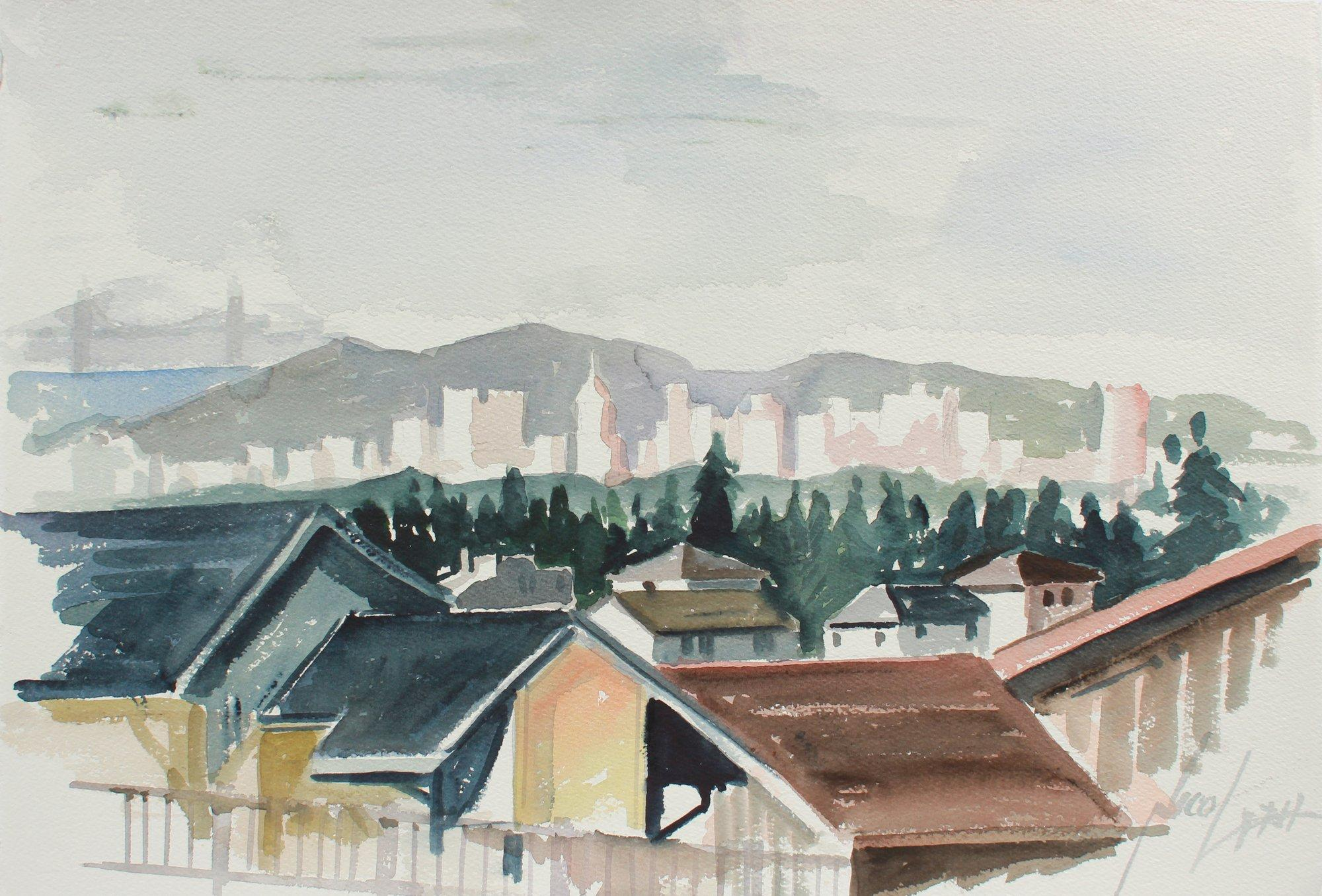 San Francisco Skyline From the East Bay 20th Century Watercolor