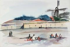 """Windmill at the Beach - San Francisco"" 20th Century Watercolor"
