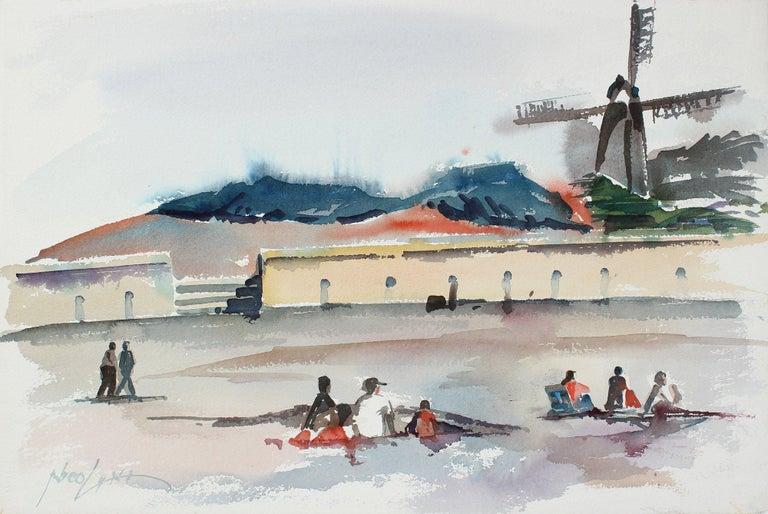 "John Nicolini Landscape Painting - ""Windmill at the Beach - San Francisco"" 20th Century Watercolor"