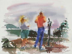 San Francisco Tourists in the Abstract 20th Century Watercolor