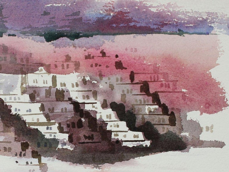 Abstracted Houses in the Sunset District San Francisco 20th Century Watercolor - Art by John Nicolini