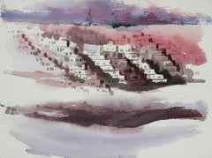 Abstracted Houses in the Sunset District San Francisco 20th Century Watercolor