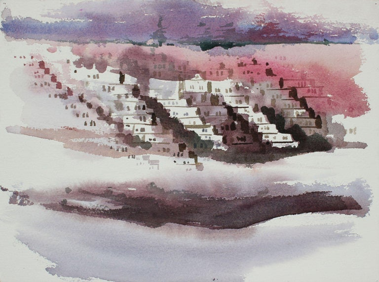 John Nicolini Landscape Art - Abstracted Houses in the Sunset District San Francisco 20th Century Watercolor