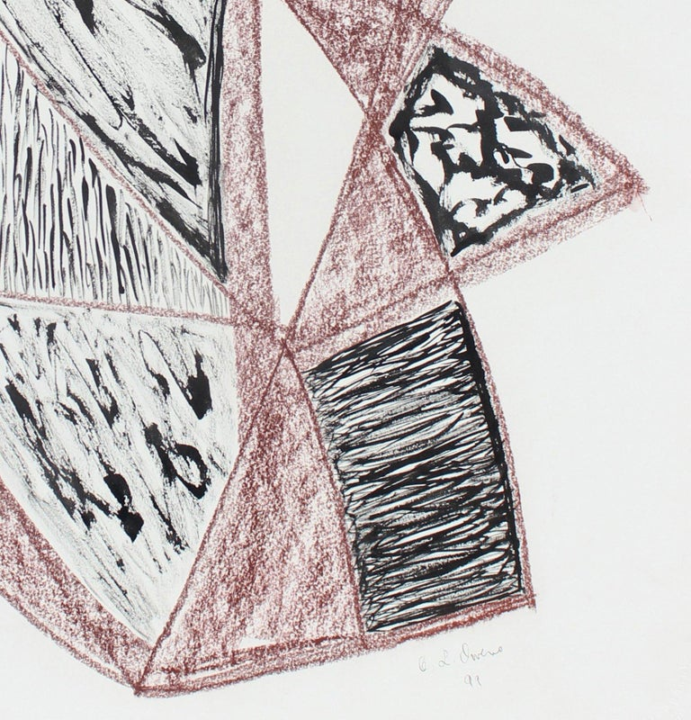 Red & Black Angular Abstract 1999 Ink & Pastel Drawing - Art by Georgette London Owens