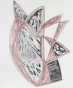 Red & Black Angular Abstract 1999 Ink & Pastel Drawing
