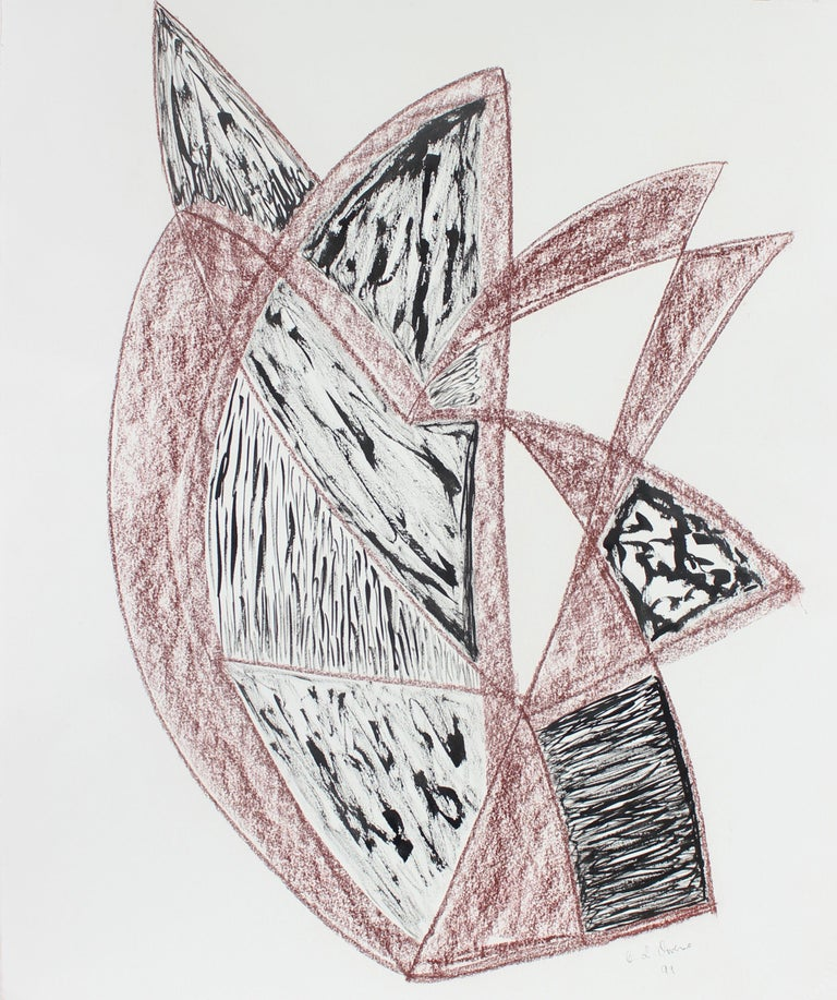 Georgette London Owens Abstract Drawing - Red & Black Angular Abstract 1999 Ink & Pastel Drawing