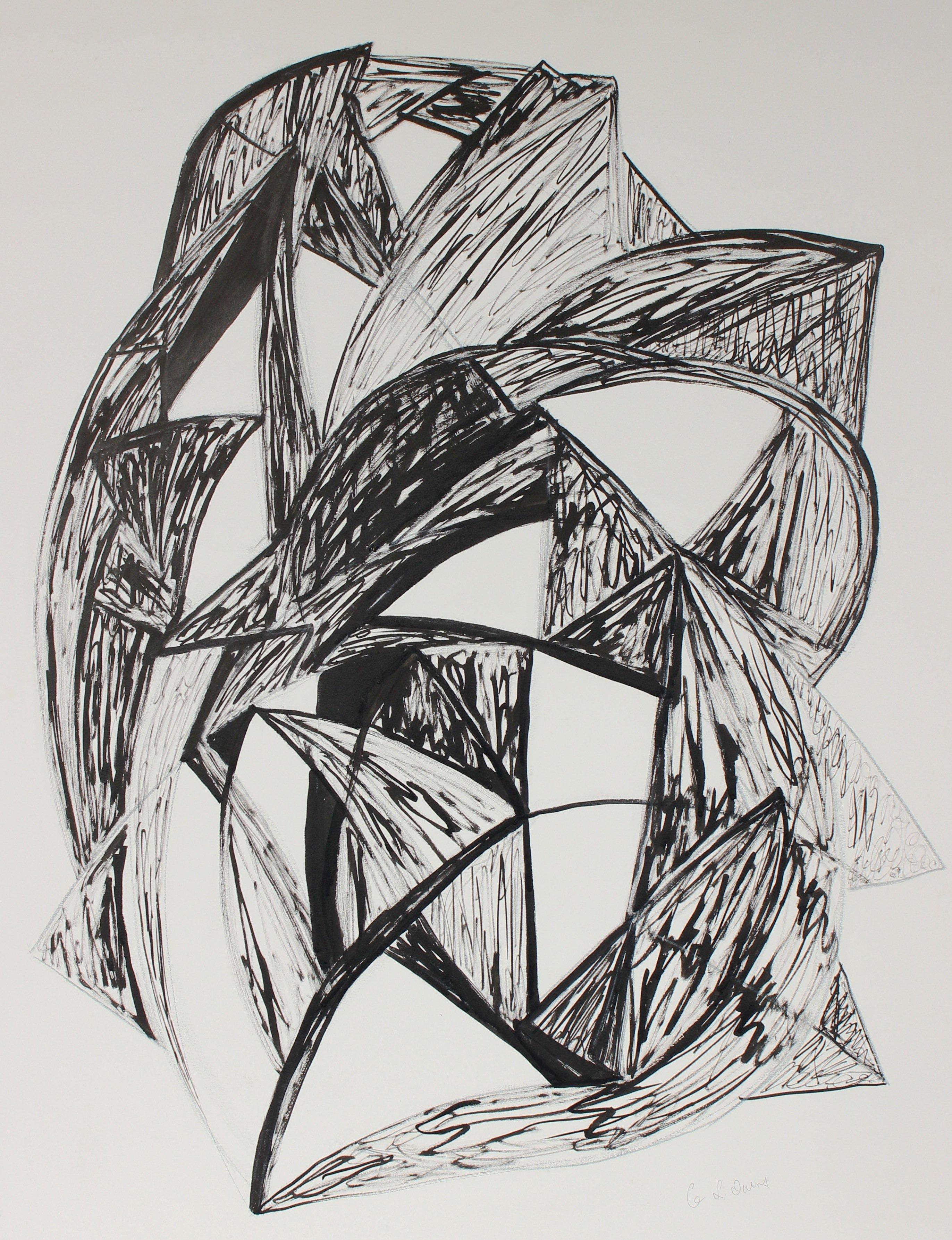 """""""Talisman II, Insounsiance"""" Mid-Late 20th Century Ink & Charcoal Drawing"""