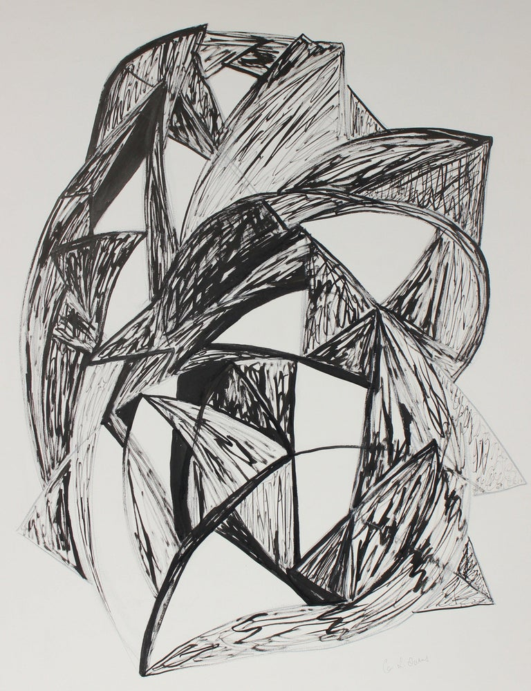 """Georgette London Owens Abstract Drawing - """"Talisman II, Insounsiance"""" Mid-Late 20th Century Ink & Charcoal Drawing"""