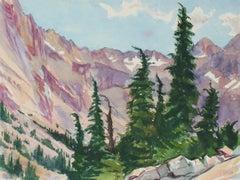 Purple Mountain Winter Landscape 1953 Watercolor