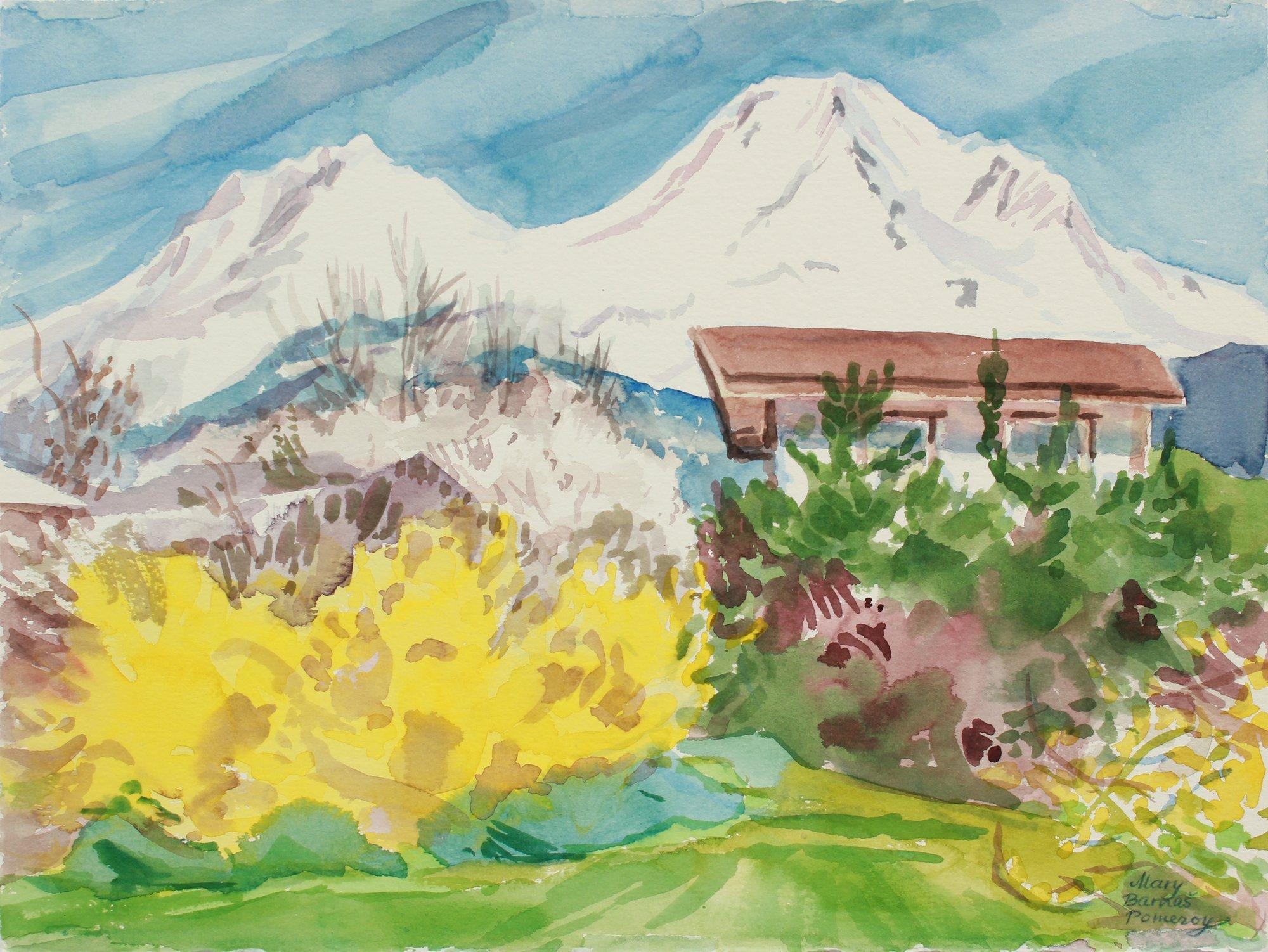 """Mt. Shastina (left) and Mt. Shasta (right)"" April 30, 1999 Watercolor Landscape"