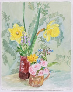 """Two April Bouquets"" April 9 Watercolor Still Life"