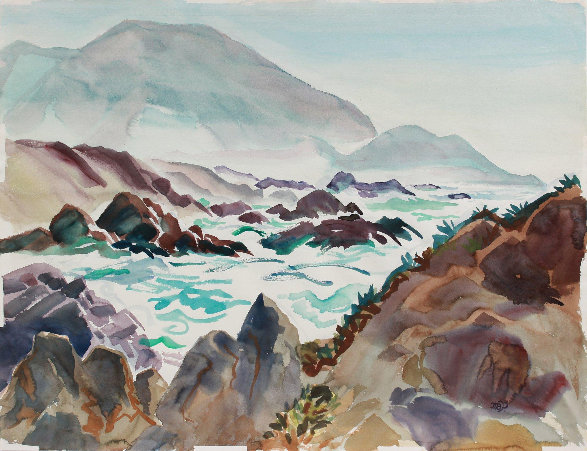 """Pacific High Seas"" Late 20th Century Watercolor Seascape"