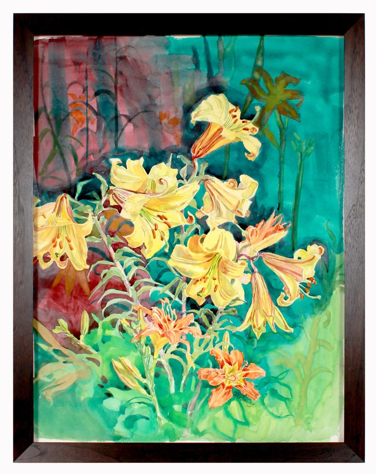 """Mary Pomeroy Still-Life - """"Daylilies in Bloom"""" 20th Century Bright Still Life Watercolor"""