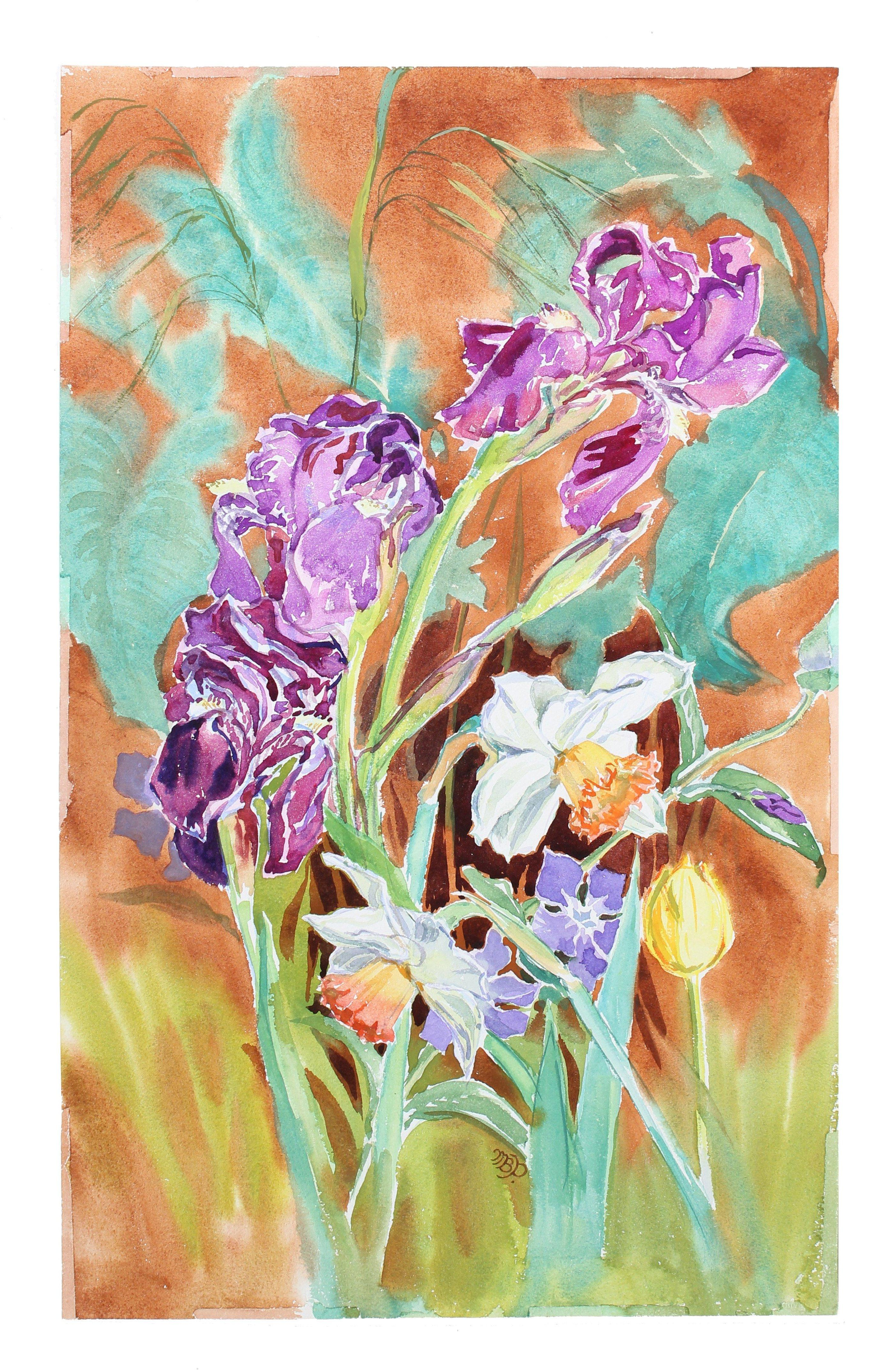 """""""Dancing Spring Flowers"""" 1970s Watercolor Botanical Still Life"""
