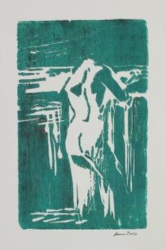 Nude Figure Study Late 20th Century Woodblock Print in Emerald Green