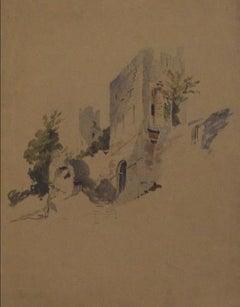 Pale Blue Castle Scene Early-Mid 1800s Watercolor