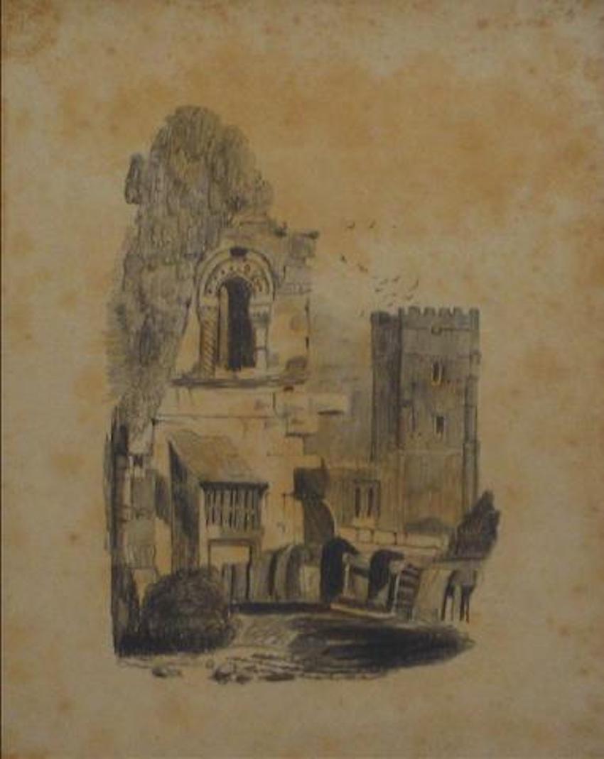 British Castle Scene Early-Mid 1800s Graphite