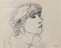 Loose Sketch of a Girl 20th Century Charcoal