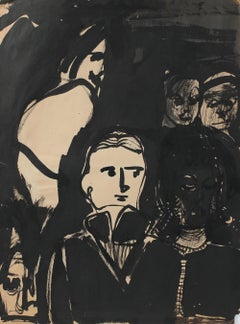 Monochromatic Ink Figures Mid-Late 20th Century