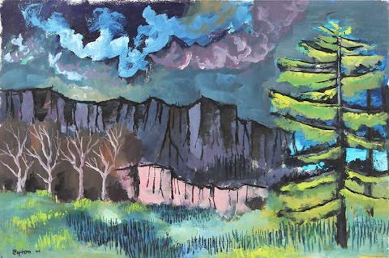 """Landscape with Mountains"" 1944 Gouache Scene"