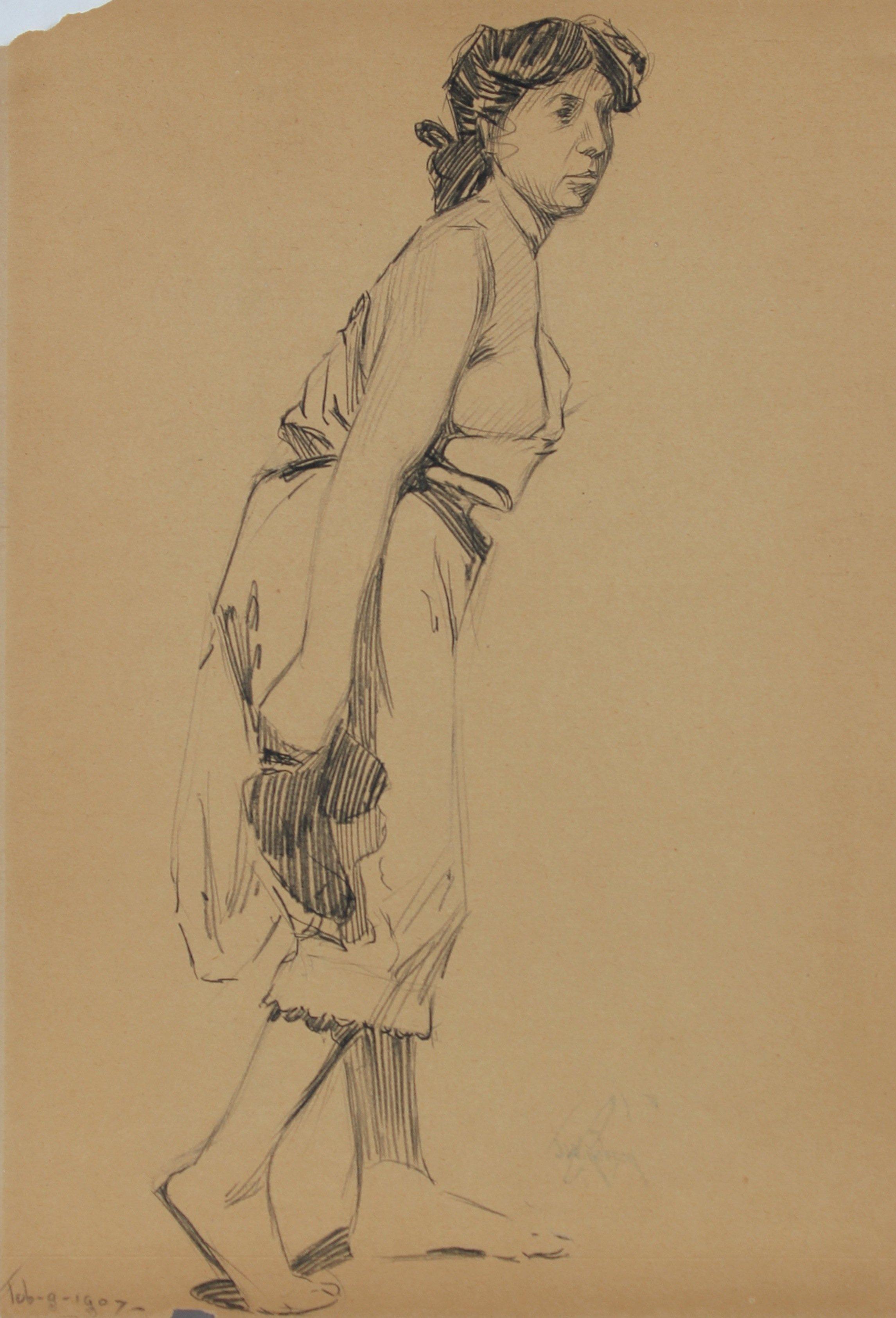 Female Figure in Paris 1907 Graphite Drawing