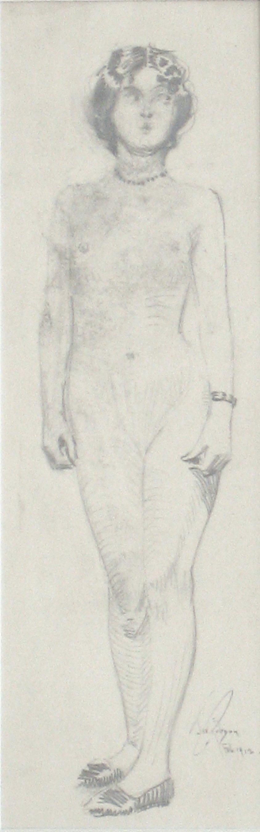 Standing Parisian Female Nude Graphite Drawing 1912
