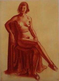 Modernist Seated Nude in Red 1920-30s Conte Crayon on Paper