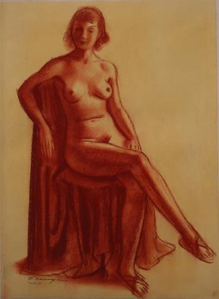 Clyde F. Seavey Sr. Figurative Art - Modernist Seated Nude in Red 1920-30s Conte Crayon on Paper