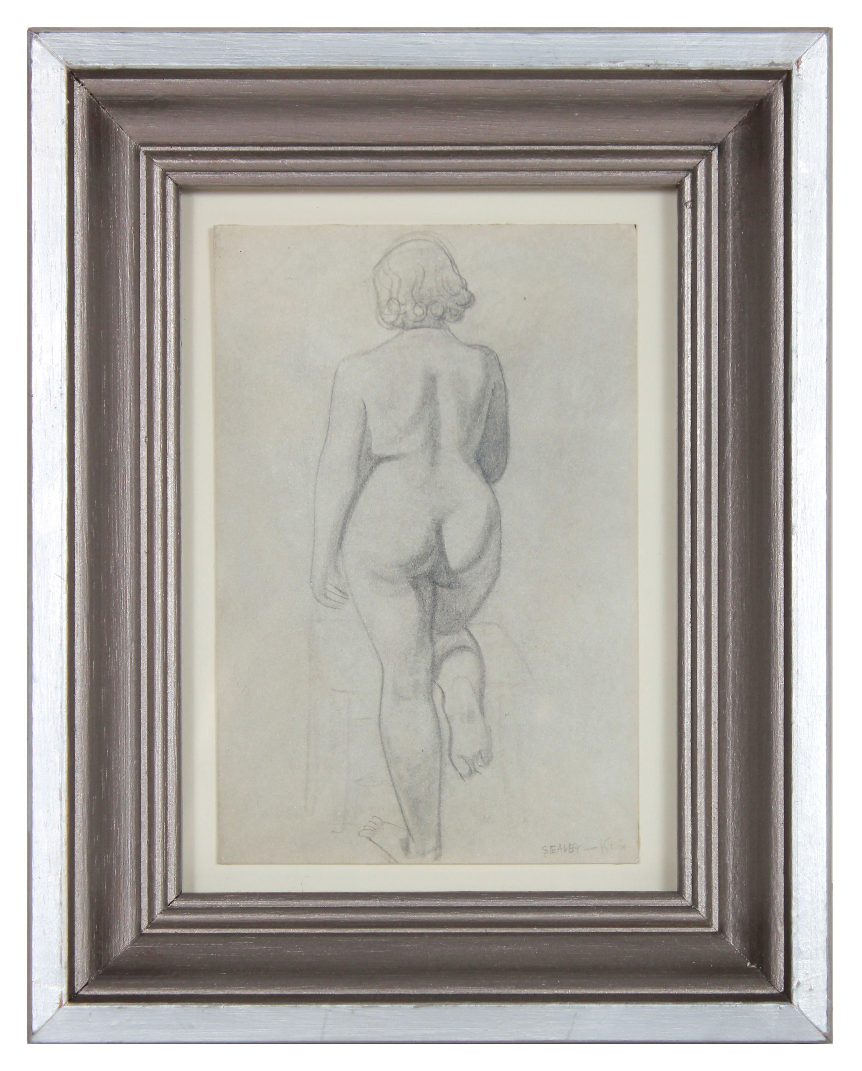 Meditation on a Female Nude from Behind 1920-30s Graphite